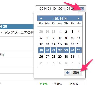 日付範囲の指定