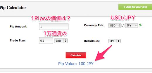 pips計算機(通貨ペア毎に1pipsはいくらかを算出します)