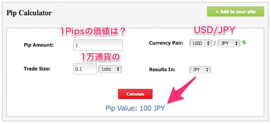 Pips計算機の使い方(日本円)