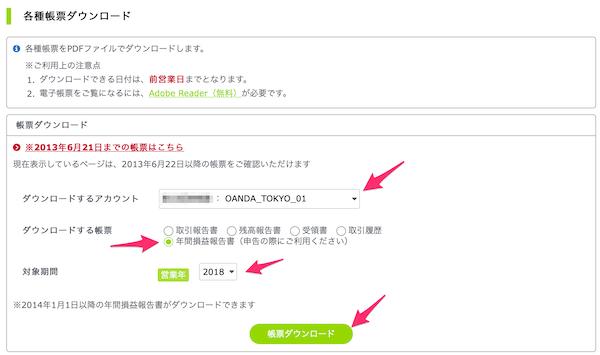 OANDA JAPAN年間損益報告書ダウンロード